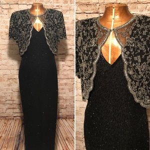 Vintage 1980s Stenay Sequin Evening Gown